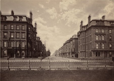 Arlington, looking west on Marlborough, taken from the Public Garden (ca 1880); courtesy of the Print Department, Boston Public Library