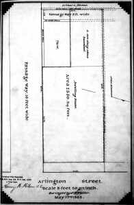 Plan showing passageway at rear of 2-3 Arlington, May 17, 1862, Suffolk County Deed Registry, Book 812, page 257