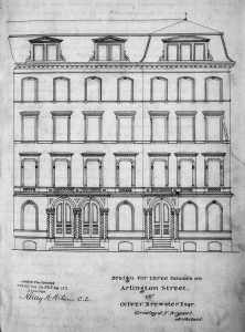 Front elevation for 18-10 Arlington, by Gridley J. F. Bryant, recorded with deed to John Foster, March 11, 1863; Suffolk County Deed Registry, Book 825, p. 153
