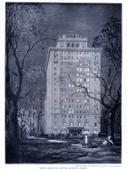 Drawing of the Ritz-Carlton Hotel, published soon after its opening in May of 1927; Achievements of New England Architects and Engineers (Lewis J. Hewitt, 1927)