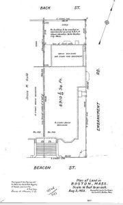 Plan of 100 Beacon showing rear area not to be built upon for 35 years; Suffolk Deed Registry, Book 4524, p. 441 (2Aug1923)