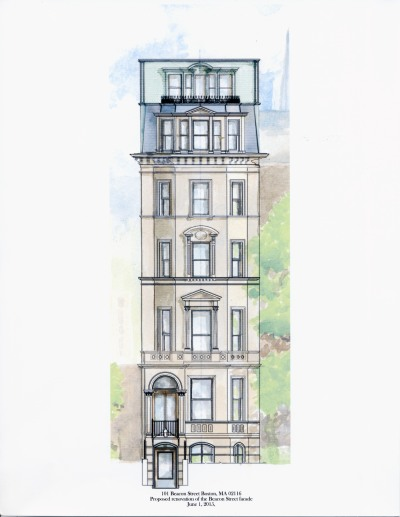 Rendering of the proposed front elevation of 101 Beacon (2015), drawn by Michael Scanlon; courtesy of Andrew Constantine of One-O-One Beacon LLC