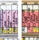 1928 (left) and 1938 (right) Bromley maps showing 107 Beacon with wooden ell in 1928 and brick rear addition in 1938.