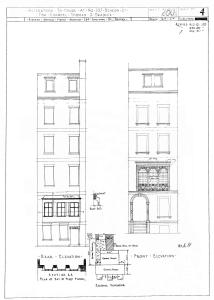 Architectural rendering of originally remodeling of the front and rear elevations of 107 Beacon (August 1928), by architect Richard Arnold Fisher, prior to amendment to include rear addition below bay window; courtesy of the Boston Public Library Arts Department, City of Boston Blueprints Collection