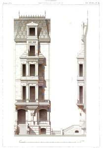 117 Beacon, architectural drawing from César Daly's Revue générale d'Architecture; 1870