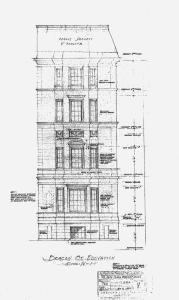 132 Beacon, Beacon Street elevation (1930), by architects Shepard and Stearns; couresty of the Boston Public Library Arts Department