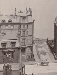 132 Beacon, detail from photograph looking north on Berkeley from Marlborough.(ca. 1900); courtesy of the Print Department, Boston Public Library