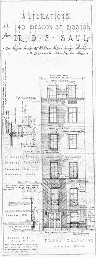 Front elevation of 140 Beacon by architects George Nelson Jacobs and William Nelson Jacobs, Jun1936; courtesy of the Boston Public Library Fine Arts Department, Blueprints Collection