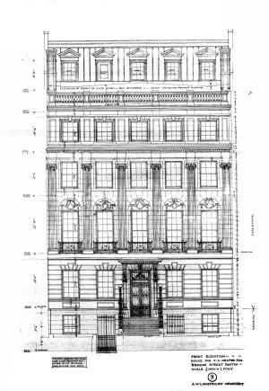 Front elevation of 150 Beacon by architect Alexander W. Longfellow, Jr., Oct1904 courtesy of the Boston Public Library Fine Arts Department, Blueprints Collection