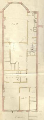 First floor plan of 164 Beacon, bound with the final building inspection report, 10Sep1890 (v. 36, p. 66); courtesy of the Boston Public Library Arts Department