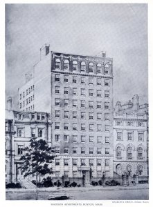 Drawing by Charles R. Greco, architect, of the Madison Apartments, proposed for 172 Beacon but not built; Achievements of New England Architects and Engineers (Lewis J. Hewitt, 1927)