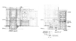 Architectural rendering of the front entrance to 205 Beacon as it existed in 1950 and as it was proposed to be remodeled, from plans by architect Archie Riskin; Boston City Archives, City of Boston Blueprints Collection