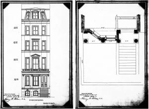 Proposed front elevation and plan of 212 Beacon by John H. Sturgis, filed with agreement dated September 3, 1863 (Suffolk County Deed Registry, Book 832, p. 297)