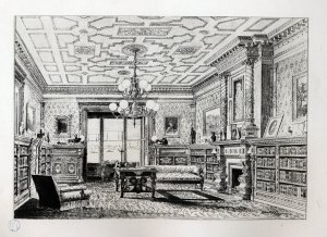 The library at 234 Beacon, The Book of American Interiors (1876)