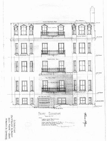 Architectural rendering of remodeled Beacon Street façade of 236-238 Beacon, as originally proposed in 1951 prior to further changes which resulted in refacing the entire building in brick; courtesy of the Boston Public Library Arts Department, City of Boston Blueprints Collection