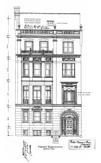 Architectural rendering of 242 Beacon (1920), showing original building with notations to remodel the roof and dormers and the second story bay window, by architects Parker, Thomas, and Rice; courtesy of the Boston Public Library