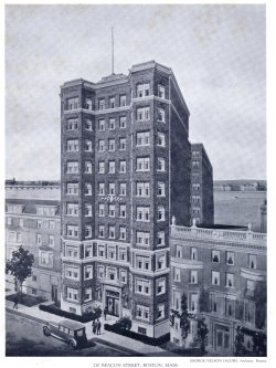 Drawing of 250 Beacon from soon after its completion; Achievements of New England Architects and Engineers (Lewis J. Hewitt, 1927)