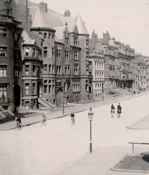 North side of Beacon, looking east from Exeter, 276 Beacon in the foreground (ca. 1898), courtesy of the Bostonian Society