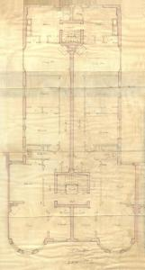 Second floor plan of 259 Beacon, bound with the final building inspection report , 30Dec1889 (v. 33, p. 114), with some water damage; Boston City Archives