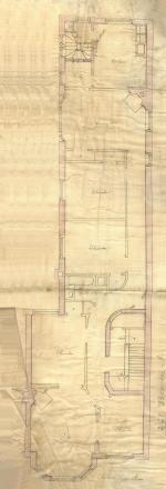 Second floor plan of 261 Beacon, bound with the final building inspection report , 30Dec1889 (v. 33, p. 115), with some water damage; courtesy of the Boston Public Library Arts Department