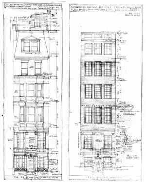 Front elevations by Homer Kiessling for remodeling as proposed in November 1936 (left) and as revised in February of 1937 (right); courtesy of the Boston Public Library Arts Department