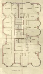 Second floor plan of 295 Beacon, bound with the final building inspection report , 2Dec1886 (v. 16, p. 110); courtesy of the Boston Public Library Arts Department