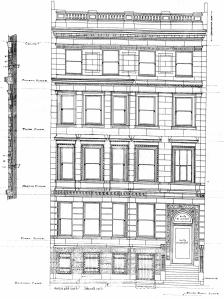 Architectural rendering of front elevation of 310 Beacon (1903) by Peabody and Stearns, architects, courtesy of the Boston Public Library.