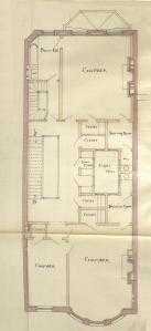 Second floor plan of 316 Beacon, bound with the final building inspection report , 1Dec1886 (v. 16, p. 109); courtesy of the Boston Public Library Arts Department