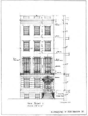 Architectural rendering of front façade of 328 Beacon (1935), architect not identified on drawing but attributed to Ralph Stebbins; courtesy of the Boston Public Library Fine Arts Department, City of Boston Blueprints Collection