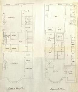 Basement and second floor plans of 331 Beacon, bound with the final building inspection report , 8Nov1880 (v. 1, p. 91); Boston City Archives