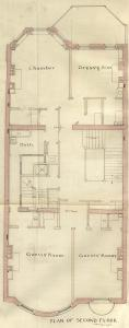 Second floor plan of 352 Beacon, bound with the final building inspection report , 2Dec1886 (v. 16, p. 111); courtesy of the Boston Public Library Arts Department