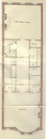 Second floor plan of 367 Beacon, bound with the final building inspection report, 13Nov1886 (v. 16, p. 59); courtesy of the Boston Public Library Arts Department