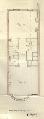 Second floor plan of 375 Beacon, bound with the final building inspection report, 13Nov1886 (v. 16, p. 60); courtesy of the Boston Public Library Arts Department