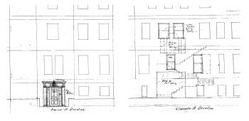 Detail from elevations for remodeling of 2 Gloucester (404 Beacon), showing proposed new entrance on Beacon and removal of entrance and Palladian widow on Gloucester, by Thomas Byrd Epps; courtesy of the Boston Public Library Arts Department.