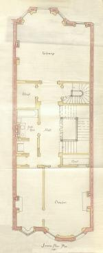 Second floor plan of 406 Beacon, bound with the final building inspection report, 13Aug1888 (v. 24, p. 83); courtesy of the Boston Public Library Arts Department