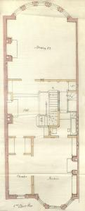 Second floor plan of 414 Beacon, bound with the final building inspection report, 26Dec1888 (v. 26, p. 129); Boston City Archives
