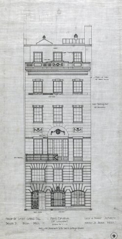 Front elevation of 422 Beacon, drawn ca. 1899 by Little and Browne; courtesy of Historic New England