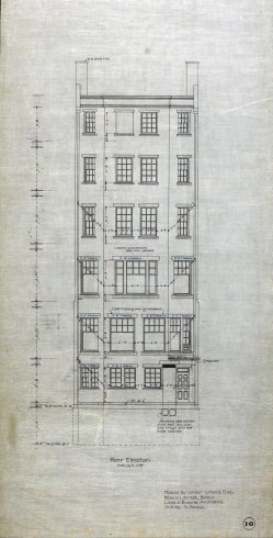 Rear elevation of 422 Beacon, drawn ca. 1899 by Little and Browne; courtesy of Historic New England