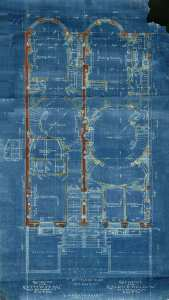 Blueprint of the first floor of 424-426 Beacon (1904), by architect Julius A. Schweinfurth; courtesy of the Boston Public Library Arts Department, City of Boston Blueprints Collection