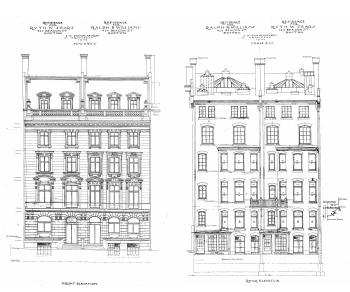 Architectural rendering of the front and rear elevations of 424-426 Beacon (1904), by architect Julius A. Schweinfurth; courtesy of the Boston Public Library Arts Department, City of Boston Blueprints Collection