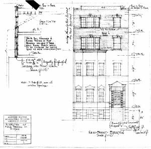 Architectural rendering of proposed front elevation of 443 Beacon (1935), by architect Manning Waters, courtesy of the Boston Public Library Arts Department, City of Boston Blueprints Collection