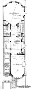 First floor plan of 450 Beacon, part of one of several blueprints bound with the final building inspection report, 9Jul1896 (v. 77, p. 58); courtesy of the Boston Public Library Arts Department