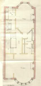 Second floor plan of 459 Beacon, bound with the final building inspection report, 9May1888 (v. 23, p. 107); Boston City Archives
