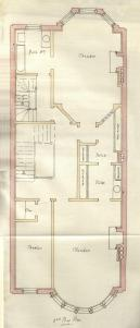 Third floor plan of 461 Beacon, bound with the final building inspection report, 9May1888 (v. 23, p. 102); courtesy of the Boston Public Library Arts Department
