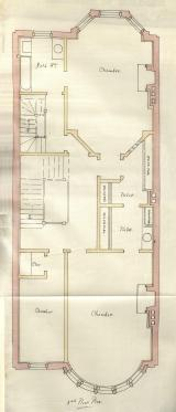 Third floor plan of 461 Beacon, bound with the final building inspection report, 9May1888 (v. 23, p. 102); Boston City Archives