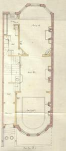 First floor plan of 463 Beacon, bound with the final building inspection report, 13Aug1888 (v. 24, p. 84); courtesy of the Boston Public Library Arts Department