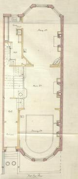 First floor plan of 463 Beacon, bound with the final building inspection report, 13Aug1888 (v. 24, p. 84); Boston City Archives