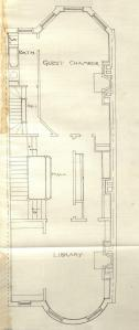 Floor plan of 465 Beacon (probably second floor), bound with the final building inspection report , 13Aug1888 (v. 24, p. 85), with some water damage; courtesy of the Boston Public Library Arts Department