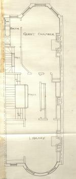 Floor plan of 465 Beacon (probably second floor), bound with the final building inspection report , 13Aug1888 (v. 24, p. 85), with some water damage; Boston City Archives