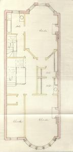Second floor plan of 467 Beacon, bound with the final building inspection report, 11Sep1889 (v. 30, p. 138); Boston City Archives